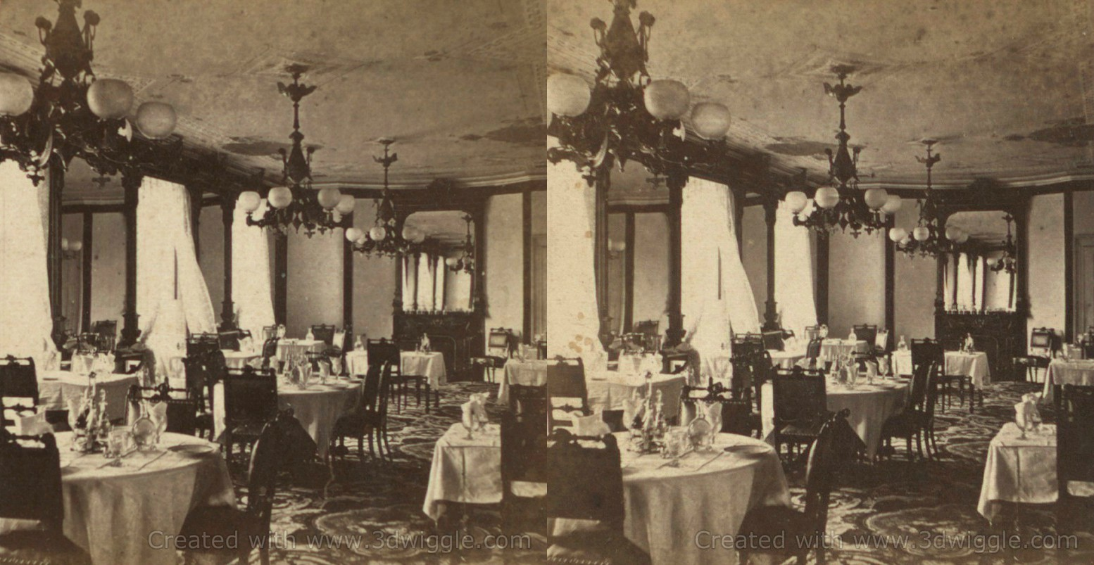 Dining Room, Maison Doree stereo card, New York Public Library